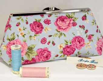 Clutch Bag - Purse - Hand Bag - Evening Bag - Prom Bag - Handmade bag featuring pretty old-fashioned pink retro roses on a blue background