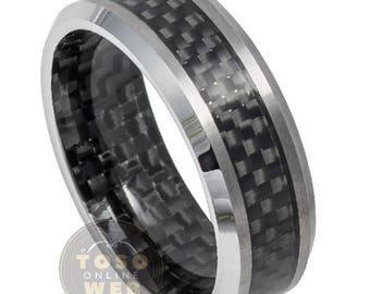 Men's 8mm Beveled Edge High Polished Wedding Band with Black Carbon Fiber Inlay Inside & Out Tungsten Carbide Ring TS6100
