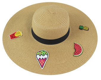 "Embroidered Applique Floppy Hat 6.5"" Wide Brim Sun Hat Beach Hat Ice Cream Watermelon Pineapple Cute Summer Fun"