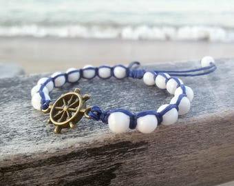Marine bracelet Summer beach bracelet Nautical jewelry Beach shamballa bracelet Navy blue bracelet for summer gift Dark blue jewelry Boho