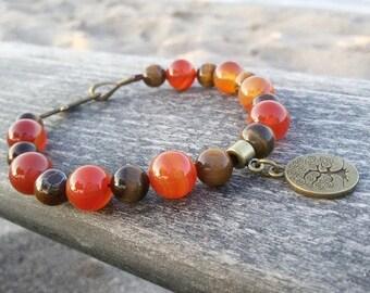Tree of Life jewelry Clasp Men bracelet Protection jewelry Carnelian Tigers eye bracelet Prosperity Men jewelry Good Luck Bracelet
