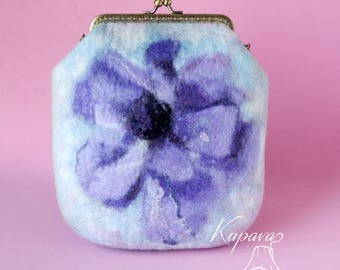 Watercolor Сlutch. Clutch with Purple Flower. Wool Purse. Gift for Her. Blue Purse. Colorful purse. Mother's Day gift.
