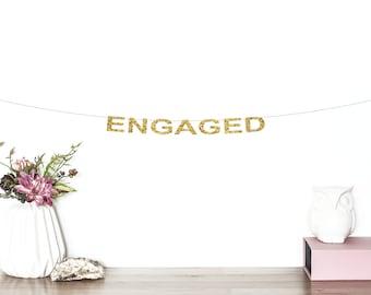 Engaged Glitter Banner | Engagement Banner | Engagement Party | Engagement Sign | We're Engaged | Engagement Decor | Bridal Shower Decor