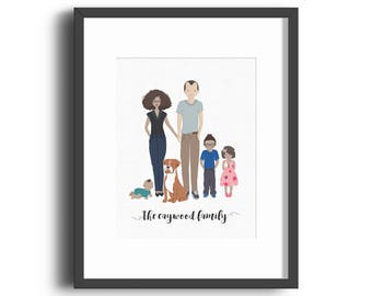 Custom Family Portrait Print, Housewarming, Bridal Shower, Baby Shower, Birthday, Reunion