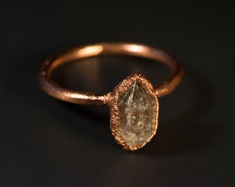 Copper ring with Herkimer diamond/wedding/engagement ring