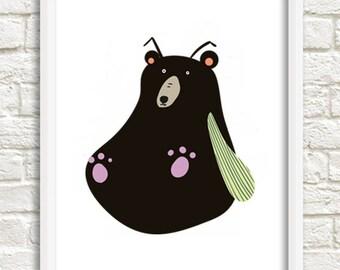 Bespoke nursery bear. digital printing version.