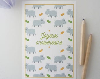 """""""Happy birthday"""" greeting card illustrated little hippos"""