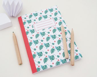 A6 notebook with red and green tropical pattern