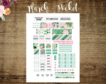 Pocket TN March Monthly | Printable Planner Stickers | Planner Printables | Annie Plans Printables | Travelers Notebook | Pocket TN