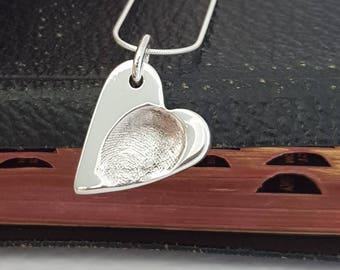 Vintage Heart Fingerprint Neckace