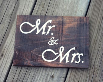 Mr. & Mrs., Wood Sign, Wall Hanging, Handmade, Hand Painted, Stained, Brown, White, Wedding