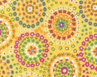 Michael MIller  Ring of Flowers Sunshine Yellow Cotton Quilting Fabric