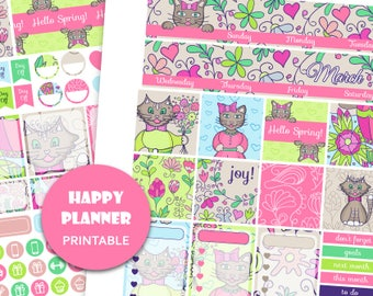 2018 MONTHLY KIT March monthly view kit March Happy Planner Mambi planner stickers printable March sticker kit