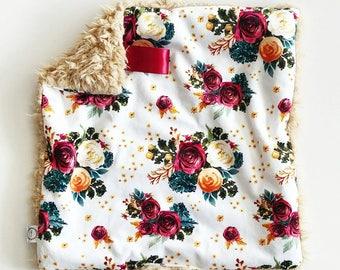 Vintage Rose Watercolor Floral Lovey, Minky Lovey, Faux Fur Lovey, Floral Lovey, Girl Lovey, Rose Lovey, Vintage Floral Lovey, Burgundy