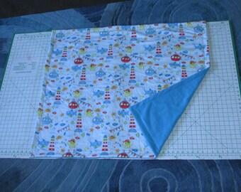 "Fish Fleece & Flannel Baby Blanket Hand Made 42"" x 36"" Fishing Nautical Sharks Octopus Light House Boats"