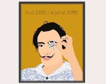 Dali Poster, Portrait, Salvador Dali Art, Dali Quotes, drawing, illustration, art print, wall decor.