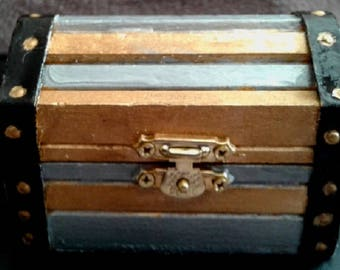 Treasure Chest with Gold, Silver and Black Enamel, Cotton Print Inside with Surprise Jewelry Inside