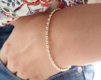 Gold beaded bracelet. Gold filled beads bracelet. Gold bead bracelet. Silver bead bracelet. Stacking bracelet. Gold stretching bracelet.