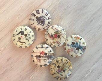 7 2-hole wooden buttons
