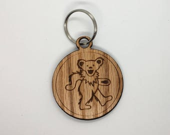 Grateful Dead inspired keychain with Dancing bear
