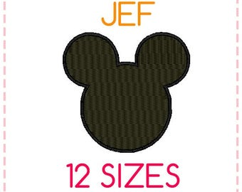 12 SIZES Mickey Mouse Embroidery Design Fill Stitched JEF Format,Embroidery Designs ,Machine Embroidery,Mickey Mouse Head,Instant Download