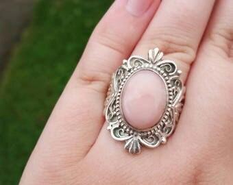 Vintage Sterling Silver Filigree Rose Quartz Ring