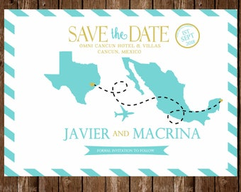 DIGITAL Mexico Save the date invitation template; customizable; destination wedding, printable
