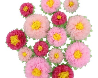 Pink Paper Flowers DIY Crafting Kit Nursery Art Party Backdrop Wedding  Shooting Props Pack of 14