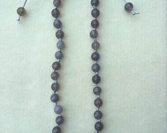 Grey Agate 10mm faceted necklace