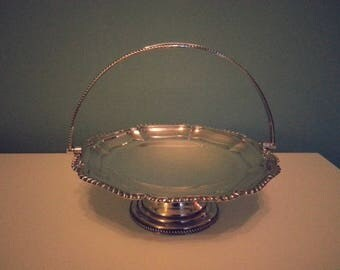 Beautiful Silver Plate on Stand with Pretty Carry Handle