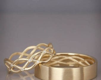 SALE! 14K Gold Eternity Wedding Rings set with Diamonds  Handmade 14k gold eternity wedding Rings   His and Hers Wedding Bands Set