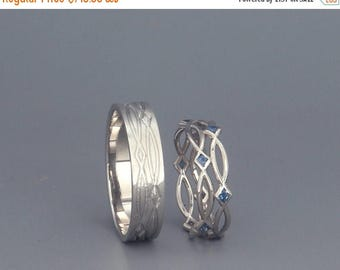 SALE! 14K White Gold Eternity Wedding Rings set with Sapphire Handmade 14k white gold eternity wedding Rings  His and Hers Wedding Bands Set
