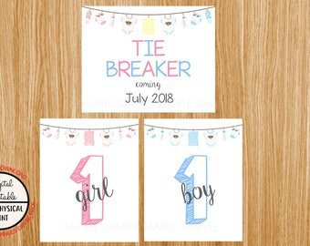 Tie Breaker Pregnancy Announcement Sign, Pregnancy Reveal, Printable, Pink or Blue, Instant Download, Boy and Girl Sign, due July 2018