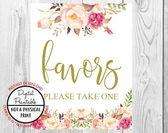 Vintage Gold Floral Boho Favors Sign, Gold Flower Boho Wedding Sign, Printable, Bridal Shower Sign, Baby Shower Sign, Birthday Sign