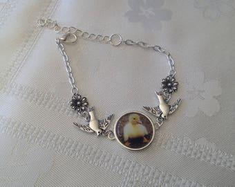 Silver cabochon bracelet chick /oiseaux / flowers