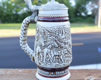 Vintage Avon 1980 Beer Stein/ Old West Beer Stein/ Barware