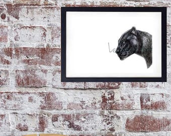 Black Panther Artwork, wildlife art, wildcat, NURSERY ART