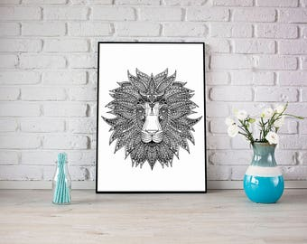 Poster minimalist lion illustration black and white
