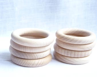 Unfinished Beech wooden ring 56 mm / Natural Beech wood / breastfeeding toy / sling ring / nursing necklace / teething ring / raw wood rings