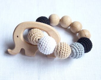 Monochrome elephant teething ring / Sensory baby toy / Wooden elephant teether / Montessori infant toy / Chewable beads / Crochet teething