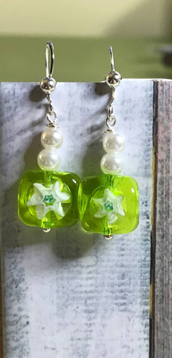 Millefiore Glass Square Earrings