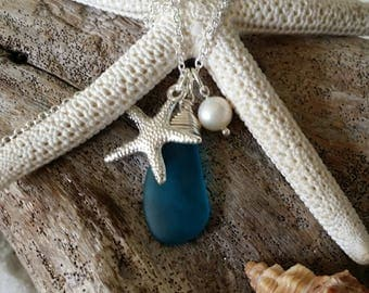 Handmade in Hawaii, Teal blue sea glass beach glass necklace, Starfish charm, Fresh water pearl, Sterling silver chain.