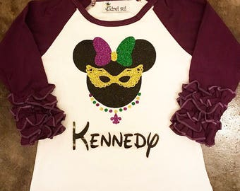 NEXT DAY SHIPPING! Girls glitter Mardi Gras ruffle raglan top with monogram. Baby, toddler and big girl t-shirt for parades.