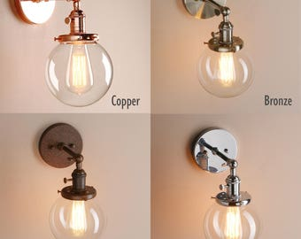 FREE BULB Industrial Vintage Wall Light Lamp glass globe. Antique brass copper chrome metal gold Sconce fish bowl round shade rust brushed
