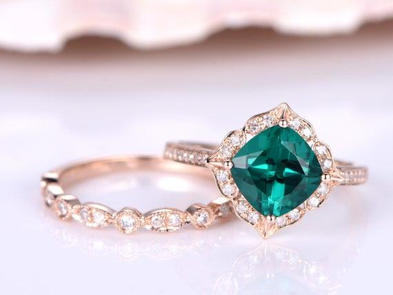 Wedding ring set,emerald ring,7mm cushion emerald engagement ring,half eternity diamond wedding band,Milgrain matching band,14k rose gold