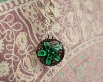 Hemp necklace - St. Patrick's day - green glass bead