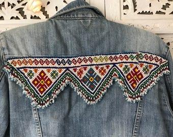 Vintage customised embellished denim jacket banjara beading embroidery UK 12-14