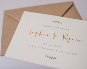10 x Gold Foil Save the Date Cards - Save the Date / Gold foil wedding stationery / Wedding Invites / Gold Foil Stationery / Invitations