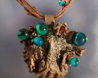 Christmas in July Mermaid necklace Sea pendant Seaweed jewelry Blue Green pendant Teal Emerald pendant Siren pendant Nature Marine Ocean jew