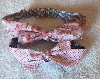 Set of elastic tie headbands reversible